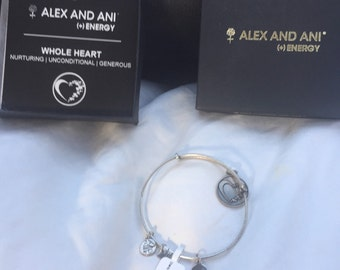 Vintage Alec and Ani Energy Whole Heart Charm Bracelet in original box