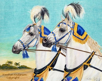 "4 Horse Greeting Cards with envelopes ""Forward Through Time"" 5 1/2"" x 4 1/4"" Heather Anderson horse artist"