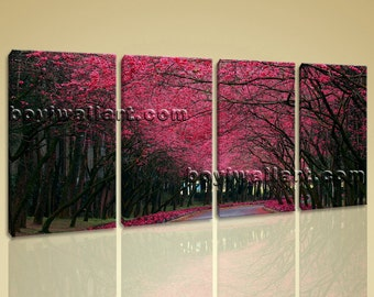 Large Pink Cherry Blossom Trees Landscape Contemporary Wall Art Print On Canvas, Large Forest Wall Art, Bedroom, Wood Bark