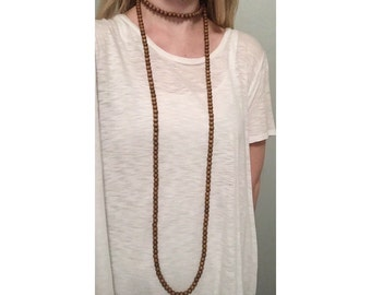 Extra Long Wood Bead Wrap Necklace Brown