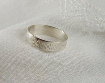 Sterling Silver Wedding Ring Textured Silver Ring Rustic Wedding Band 925 Silver Ring