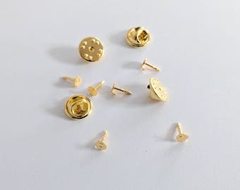 Gold Plated Round, Squeeze Clutch Back, Blank Tie Tack/Lapel Pins 10 in a Pack ,  CLJewelrySupply