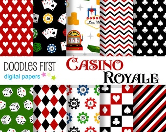 Casino Royale Digital Paper Pack Includes 10 for Scrapbooking Paper Crafts