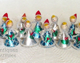 One Dozen Vintage Little Christmas Angels with Spun Cotton Heads (Item #CH1062)