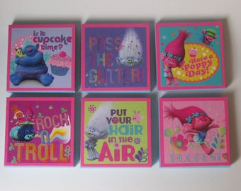 Trolls Glittered  Note Pads Set of 6 (set #2) - Excellent Party Favors - Trolls Birthday Party Favor