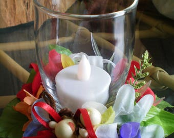 Floral Candle Holder Arrangement with Battery Candle ~ Multi-Colored