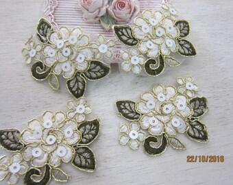 Set of 4 pieces Embroidered Flower Applique/NA75-Golden Thread Flower Applique/