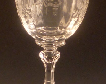Fostoria Meadow Rose Etched Crystal 10 Ounce Water Goblet 7 5/8 Inches Clear Vintage Stemware Elegant Glass Glassware Etch Wine