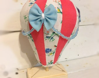 Small Hot Air Balloon- Coral Blue Floral