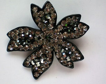 Black and Clear Rhinestone Floral Brooch - 5251