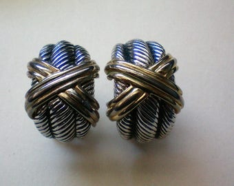 Gold and Silver tone French Clip Pierced Earrings - 5286