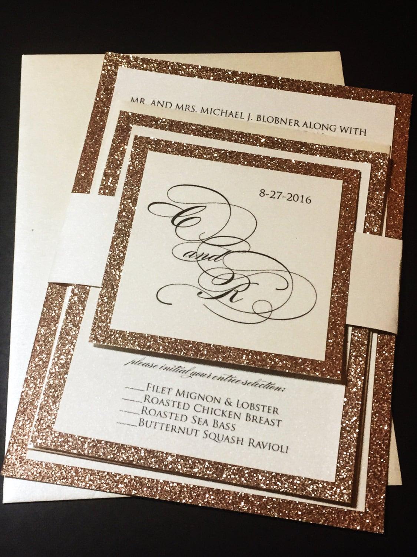 Rose Gold Wedding Invitation Rose Gold Glitter Wedding