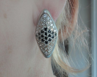 Russian Earrings - Bling Earrings - Sterling silver Earrings with cubic zirconia - Black Obsidian Earrings - Artisan Silver Jewelry