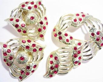 Vintage Bogoff Red Rhinestone Brooch Earrings Jewelry Set