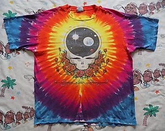 Vintage 90's Grateful Dead Space Your Face tie dye T shirt, size L/XL 1992 soo soft and thin Thrashed