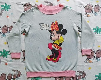 Vintage 80's Minnie Mouse double sided pullover Sweatshirt, size S/XS Disney Jog Togs super soft and thin