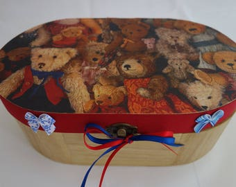 Teddy Bear design decoupage, applique and ribbon oval wooden box, for jewellery, keepsakes, and treasured items.