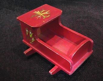 Vintage 60's Wooden Miniature Cradle, Handpainted Cradle, Dollhouse Rocking Cradle, Red Rocking Cradle, Fomerz Cradle