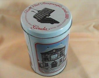 Vintage Dutch Tin,  Van Vliet Stroopwafels, Cookie Tin