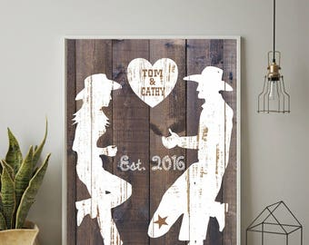 Western Print, Wedding Gift, Anniversary Gift, Western Art, Personalized Gift, Country Home Decor