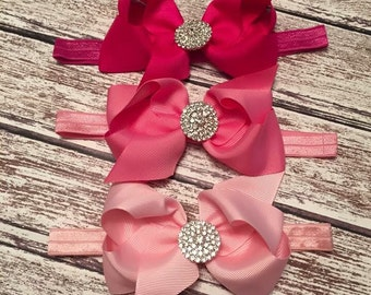 Baby girls big bow headband. Baby girls headband.