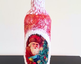 Christmas gift Christmas Decorative Bottle Hand Painted Bottle Decorated Bottle