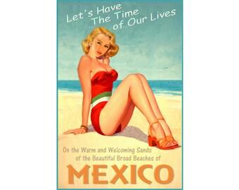 Mexico Beach Beauty Pin Up Poster Gulf Sea Shore Ocean Art Print 296