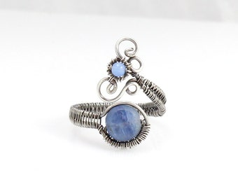 Kyanite and Sterling Silver Adjustable Ring, Whimsical Swirls, Boho Chic, Bohemian Jewelry