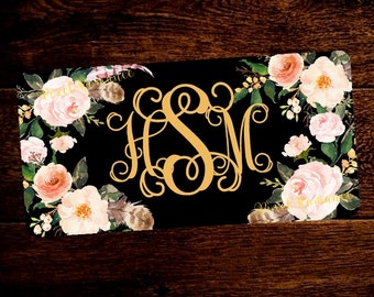 Personalized License Plate Monogram Car Tag Set Floral Boho Blush Peach Flowers Feathers Bouquets on Black Add Matching License Frame