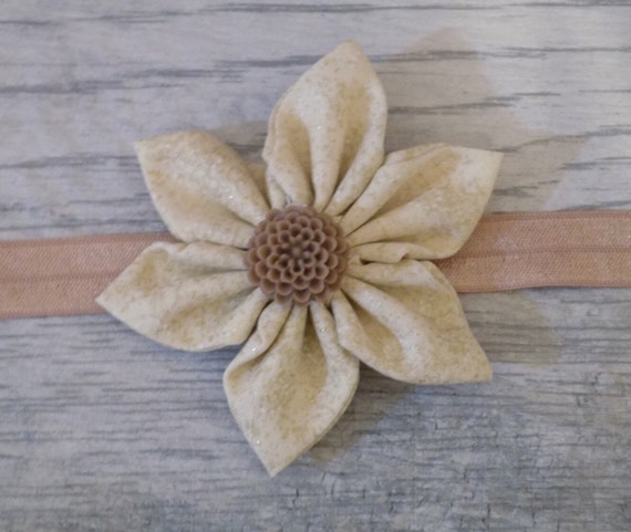 Large gold speckle fabric flower headband | baby girl | hand sewn
