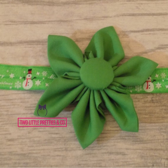 Large Green Fabric Flower Headband | Baby Girl | Hand Sewn