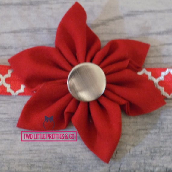 Large Red Fabric Flower Headband | Baby Girl | Hand Sewn