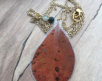 Red Leaf (gold chain) - Pressed Flower Necklace