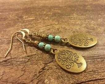 Tree of Life Earrings, Bronze Earrings, Boho Earrings, Dangle Earrings, Drop Earrings