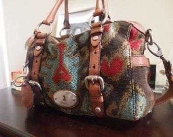 Fossil Tapestry Leather Satchel Crossbody Handbag Maddox