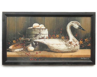 Country Charm, White Goose Decoy, Art Print, Primitive Picture, Country Decor, Wall Hanging, Handmade, 33X19, Custom Wood Frame, Made in USA