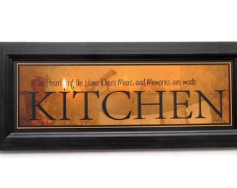 Kitchen, Robin-Lee Vieira Sign, Candle Flame Series, Framed Art, Sign Art, Wall Hanging, Handmade, 20X8, Custom Wood Frame, Made in the USA