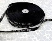 "5 yards Dr. Who Police Box 5/8"" Grosgrain Black Ribbon"
