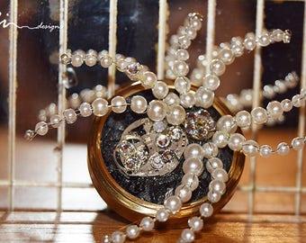 OOAK white spider steampunk brooch