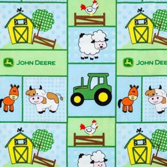 John Deere Bathroom Decor: Baby John Deere Patch Tractor Fabric