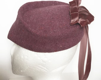 1940's Style Pink Velvet Trimmed Hat