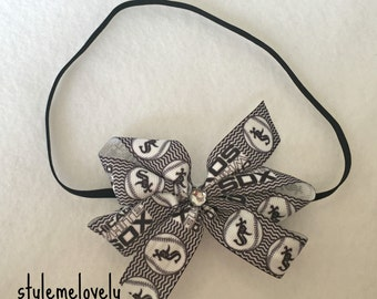 Chicago White Sox Baby Girl Boutique Bow Elastic Headband
