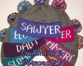 Personalized Knit Beanie with Large Text and Medium Pom - Team Inspired - Winter Hat