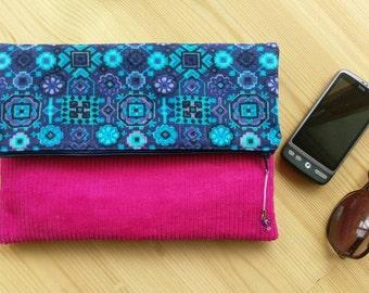 Vintage Fabric Fold Over Clutch, purple blue clutch, kaleidoscope pattern, handmade clutch, bridesmaid gift, pink clutch,