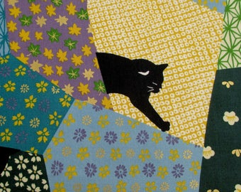 Fabric, Black Cats on Patchwork, Teals and Greens, Neko ll Japanese Fabric, Quilt Gate, By The Yard