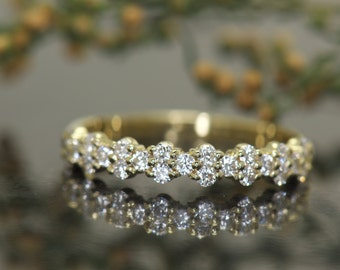 Diamond Wedding Band in Yellow Gold, Round Brilliant Cut, Unique Prong Set 2:1 Pattern, 1/2 Eternity Style, Jordan