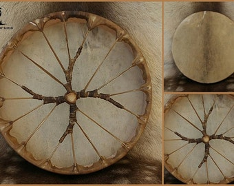 Shamanic Drum with Spiralling Cross Handle