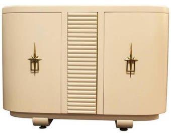 Mid Century Modern Renzo Rutili Johnson White Small Credenza Hollywood Regency