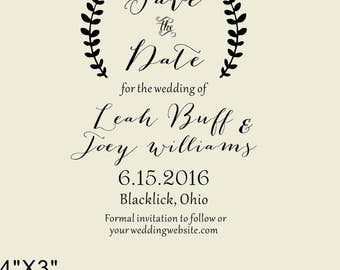 Lauren Branches- Save The Date Stamp, Wedding Favors - Wedding Favors-custom  stamp-calligraphy stamp