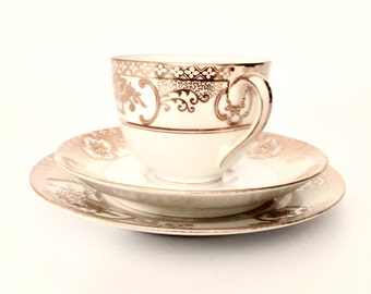 """VINTAGE NORITAKE Ivory & Gold """"Hand Painted"""" Tea Cup, Saucer and Desert Plate"""